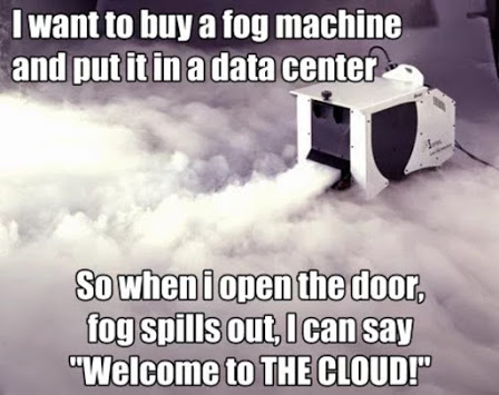 fog machine in a data centre